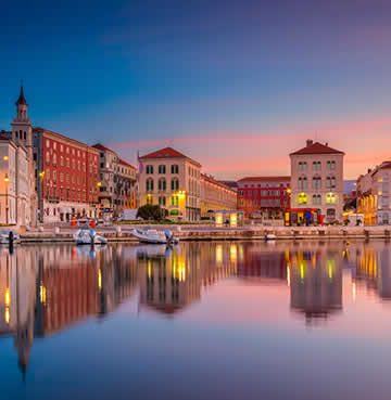 The historic waterfront at Split in the evening