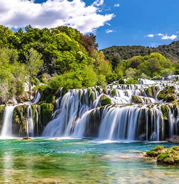 Rushing water at the Krka Waterfalls