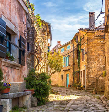 A cobblestone street in the rustic, rural village of Grožnjan in Istria