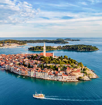 An aerial view of the seaside town of Rovinj in Istria