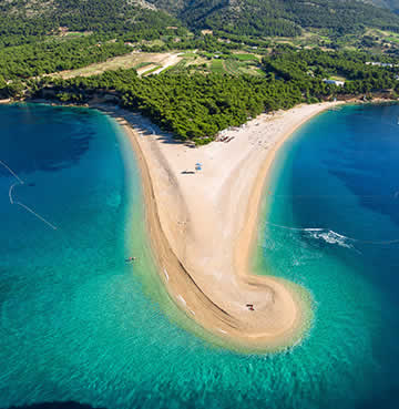 The famous golden horn, Zlatni Rat, on the Dalmatian Island of Brač
