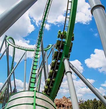 Lopping, green tracks of The Incredible Hulk Coaster® at Universal Studios™