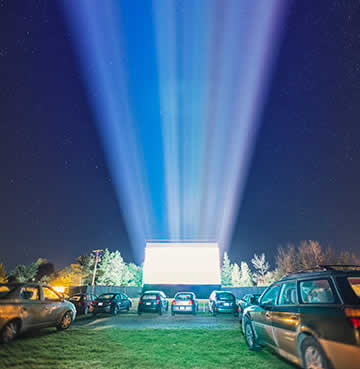 An outdoor drive-in movie theatre in Orlando, Florida