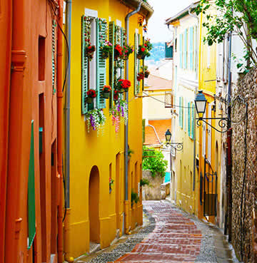 Bright coloured Old Town and cobbled streets, Menton