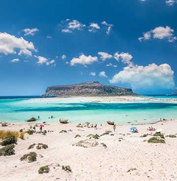 Lagoon-like setting of Balos Beach in Crete