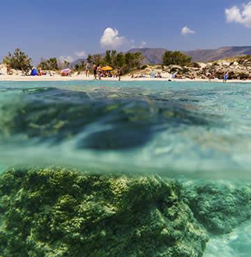 Crystal-clear waters of Falassarna Beach, Crete