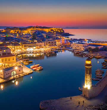 The harbour of Rethymno Old Town at sunset
