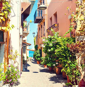 Picturesque streets of Chania, teeming with greenery and florals