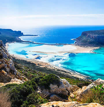 The gorgeous blue Mediterranean Sea at Balos beach, Crete, Greece