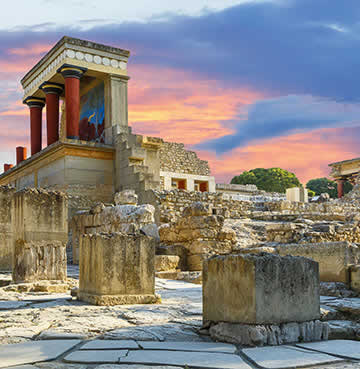 The Palace of Knossos, home of the Minotaur, in Crete, Greece