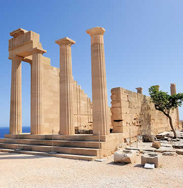 The historic Acropolis in Rhodes, Greece