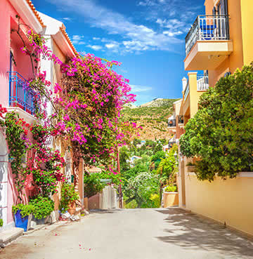 Bright pink bougainvillea and candy-coloured houses line a small rural road in a Kefalonian village