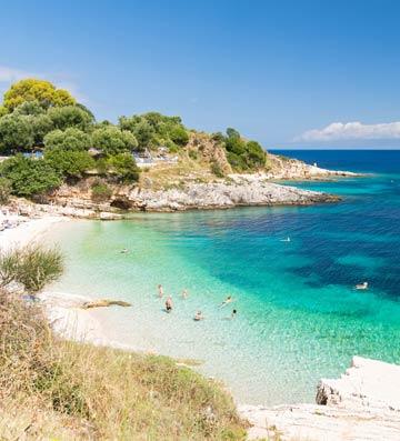 Paradise beach in Kassiopi, Corfu