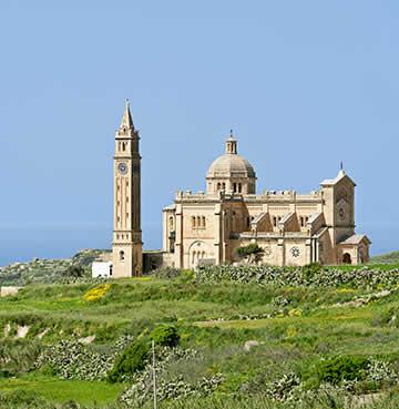 Honey-hued architecture of Ta' Pinu Basilica church