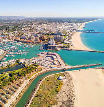 Aerial view of Vilamoura and the modern marina