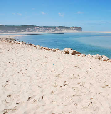 Calm, turquoise waters of the Obidos Lagoon on the Silver Coast