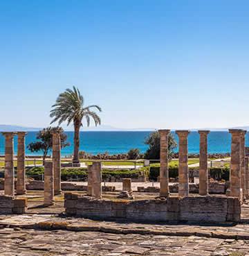 Ancient Roman ruins on Bolonia beach