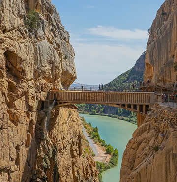Iconic bridge at Caminito del Rey, straddled over El Chorro Gorge.