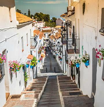 Steep, narrow stairway in the whitewashed village of Mijas.