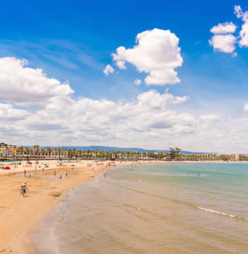 Crystalline waters and golden sands of a beach in Mainland Spain