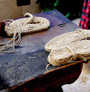 Makings of a pair of Espadrilles in Mainland Spain