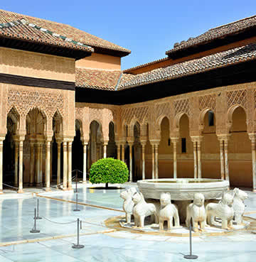 Ornate, Moorish architecture of the Alhambra Palace