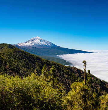 The towering Mount Teide dominates the skyline of Tenerife