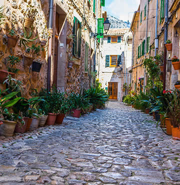 Cobbled streets of Valldemossa Village, Mallorca