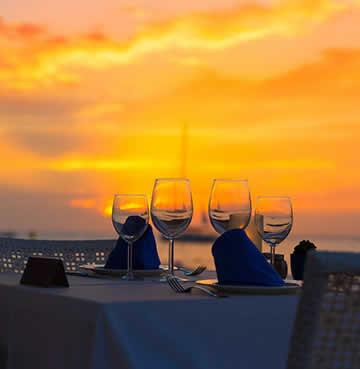 Romantic restaurant at sunset in Mallorca