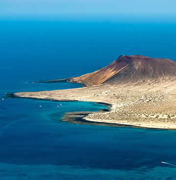 Aerial views of the arid islet of La Graciosa