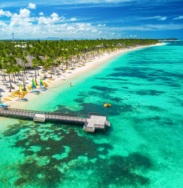 White sands and luscious palm trees line the coast at Punta Cana