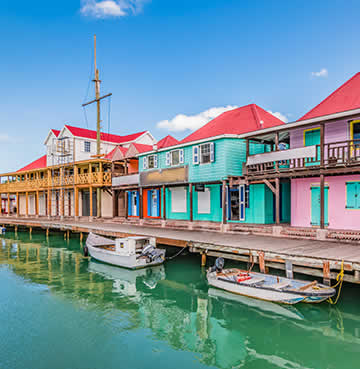 Bright coloured harbour front at a port in the Caribbean