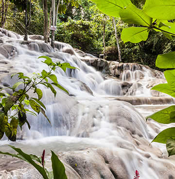 Cascading water at Dunn's River Falls, Jamaica