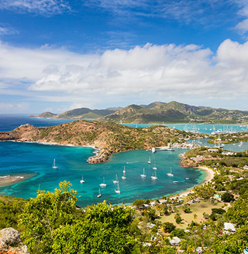 View over the bay below, from Shirley Heights Lookout in Antigua