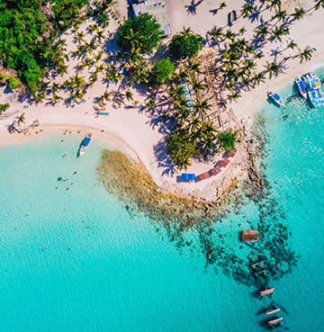 An aerial view of the tropical island of Saona, just off the shore of the Dominican Republic