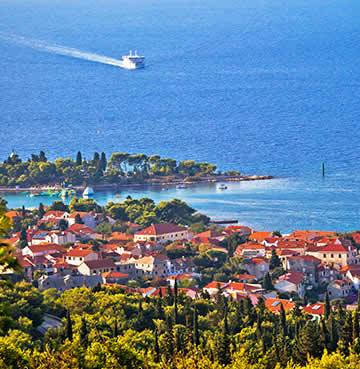 Image showing a panoramic view of the Dalmatian Islands with a Ferry in the distance.