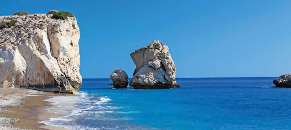 A beach with rock formations in Cyprus