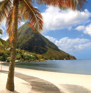 View of The Pitons mountains from the beach, St. Lucia
