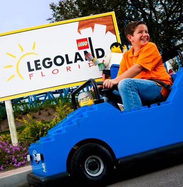 Boy driving a LEGO car at LEGOLAND Florida Resort