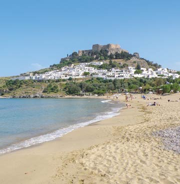 View of Lindos, Rhodes, from the beach