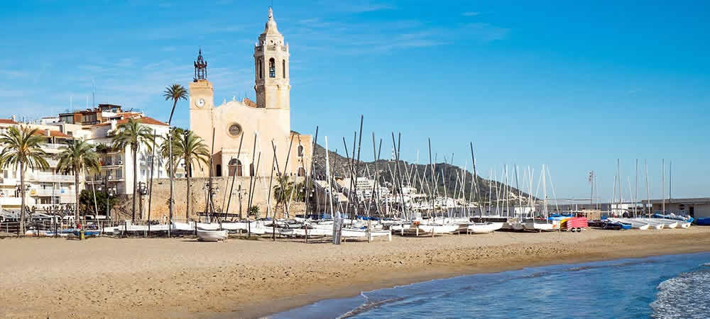 The beach and boats at Sitges, Barcelona
