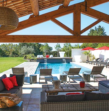 Terrace view of private pool from Villa Venaissin in Provence, South of France