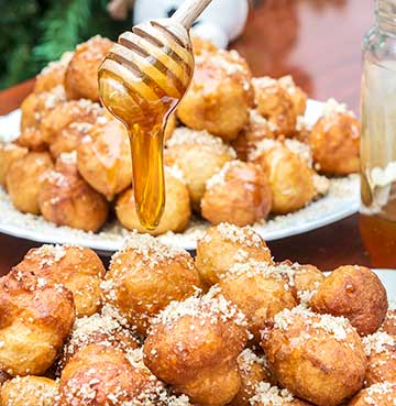 Loukoumades - traditional fried honey puffs a local delight from Crete