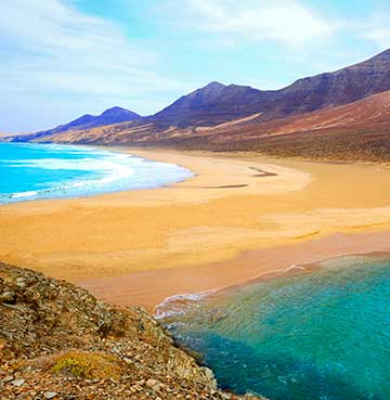 Turquoise waters sitting on either side of Cofete Beach in Fuerteventura