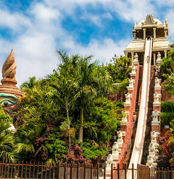 Thrilling slide in Siam Park waterpark, Tenerife.