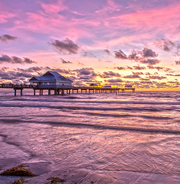 Clearwater Beach at sunset on the Gulf Coast, Florida