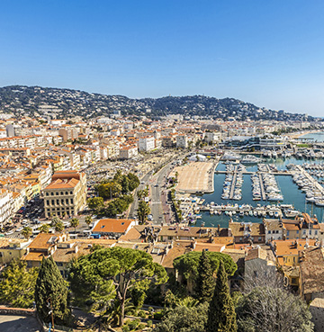 View of Cannes from the old town of La Suquet