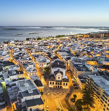 Aerial view of Olhao in the Algarve, Portugal