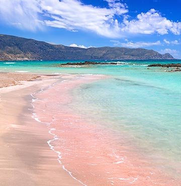 Pink sand of Elafonissi Beach on Crete, Greece