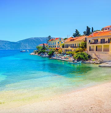 Beach and seaside town of Fiskardo in Kefalonia, Greece